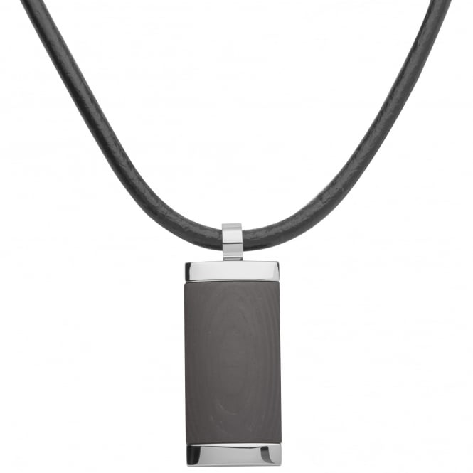Unique & Co Steel Pendant with Leather Cord