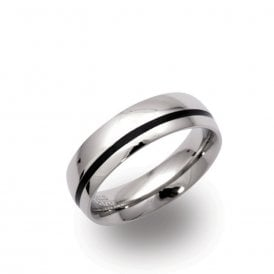 Steel Ring with Black Enamel Stripe
