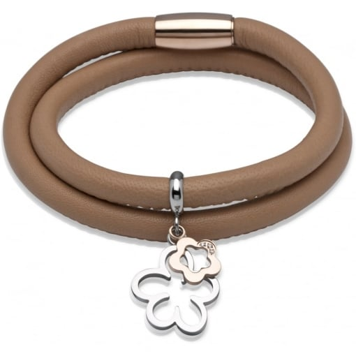 Unique & Co Tan Leather Bracelet with Flower Charms