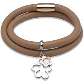 Tan Leather Bracelet with Flower Charms