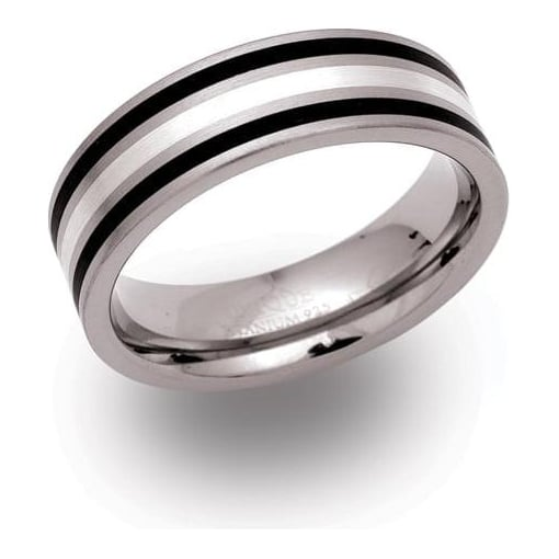 Unique & Co Titanium Ring with Silver and Black Enamel